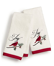 Martha Stewart Collection Cardinal Embroidered Cotton 2-Pc. Fingertip Towel Set, Created for Macy's