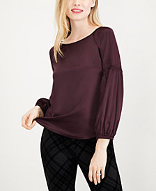 Maison Jules Balloon-Sleeve Charmeuse Blouse, Created for Macy's