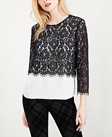Maison Jules Lace-Overlay Blouse, Created for Macy's