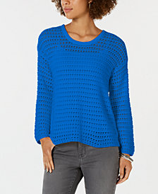 Style & Co Cotton Pointelle Sweater, Created for Macy's