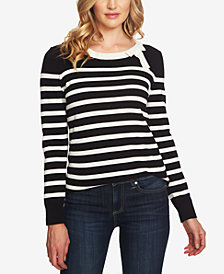 CeCe Cotton Striped Bow-Neck Sweater