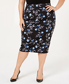 Alfani Plus Size Printed Scuba Skirt, Created for Macy's