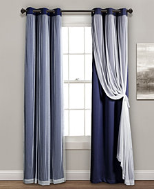 "Lush Décor 84""x38"" Grommet Sheer Panels with Insulated Blackout Lining"