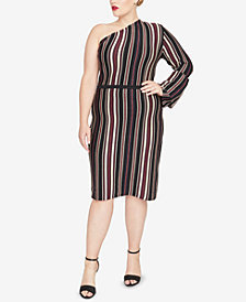 RACHEL Rachel Roy Trendy Plus Size One-Shoulder Sweater Dress