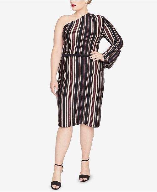 f9249dafe3280 ... RACHEL Rachel Roy Trendy Plus Size One-Shoulder Sweater Dress ...