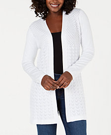 Karen Scott Knit Open-Front Cardigan, Created for Macy's