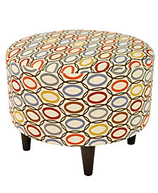 Sophia CollVera Multi-colored Upholstered Round Ottoman