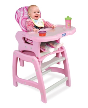 Badger Basket Baby Girl Envee Baby High Chair with Playtable Conversion