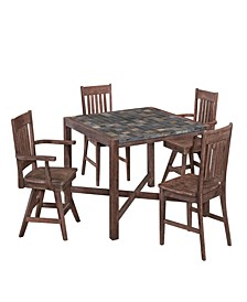 Morocco 5PC Square Dining Set (Armless Chairs)