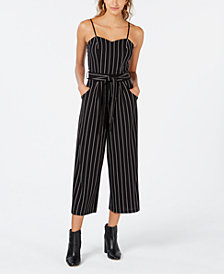 Emerald Sundae Juniors' Striped Cropped Jumpsuit