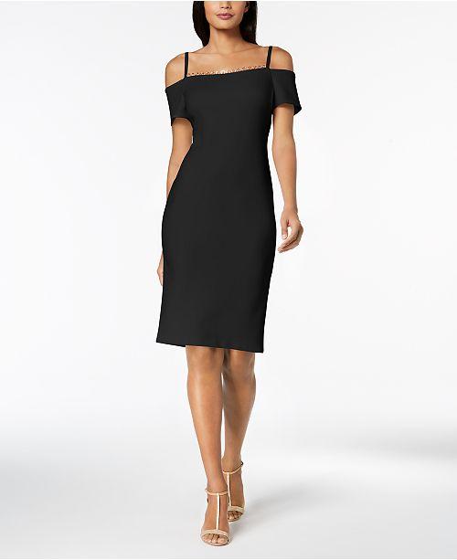 Embellished Off-The-Shoulder Scuba Dress