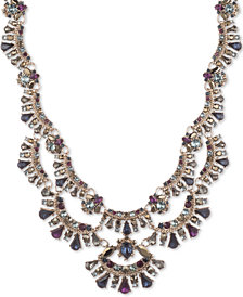 "Marchesa Gold-Tone Stone & Crystal Scalloped Multi-Layer 18"" Statement Necklace"