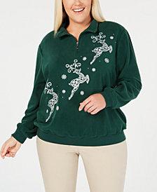 Alfred Dunner Plus Size Classics Reindeer Sweatshirt