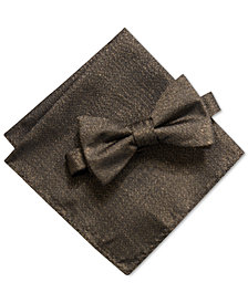 Alfani Men's Solid Pre-Tied Bow Tie & Solid Pocket Square Set, Created for Macy's