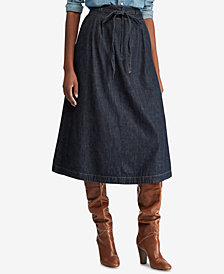 Polo Ralph Lauren Denim Cotton A-Line Midi Skirt