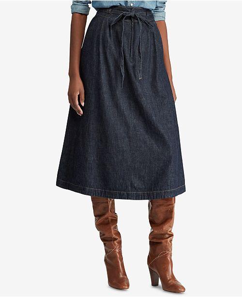 23d6c895e9a Polo Ralph Lauren Denim Cotton A-Line Midi Skirt & Reviews - Skirts ...