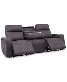 "Oaklyn 84"" Fabric Sofa with 2 Power Recliners, Power Headrests, USB Power Outlet And Drop Down Table"