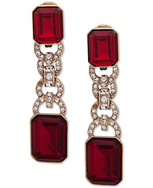 Lauren Ralph Lauren Pavé & Stone Clip-On Linear Drop Earrings