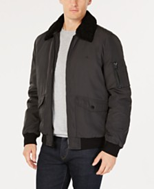 Calvin Klein Men's Bomber Jacket with Sherpa-Fleece Collar