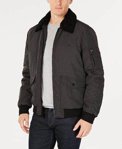Calvin Klein Men's Bomber Jacket with Sherpa-Fleece Collar