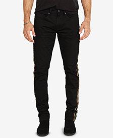 Buffalo David Bitton Men's Slim-Fit Camo Side-Stripe Black Jeans