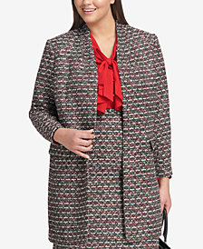 Calvin Klein Plus Size Tweed Open-Front Blazer