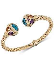 Multi-Gemstone (16-3/4 ct. t.w.) Cuff Bracelet in 14k Gold-Plated Sterling Silver