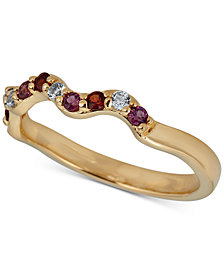 Multi-Gemstone Wavy Band (1/4 ct. t.w.) in 14k Gold-Plated Sterling Silver