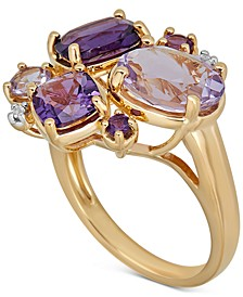 Multi-Gemstone Cluster Statement Ring (4-1/3 ct. t.w.) in 14k Gold-Plated Sterling Silver