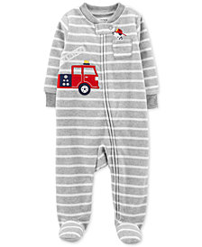 Carter's Baby Boys Striped Firetruck Footed Fleece Coverall