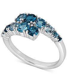 Blue Topaz Bypass Statement Ring (1-3/4 ct. t.w.) in Sterling Silver & 14k Gold Plated Sterling Silver(Also Available In Smokey Quartz, Rhodolite, & Amethyst)