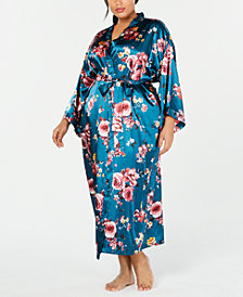 Thalia Sodi Plus Size Floral-Print Long Wrap Robe, Created for Macy's