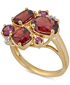 Multi-Gemstone Cluster Ring (4-5/8 ct. t.w.) Ring in 14k Gold-Plated Sterling Silver