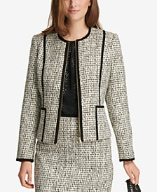Calvin Klein Piped Tweed Blazer