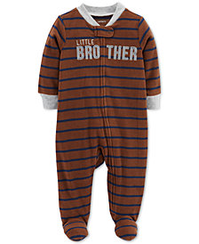 Carter's Baby Boys Striped Little Brother Footed Coverall