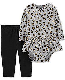 Carter's Baby Girls 2-Pc. Cotton Cheetah-Print Peplum Bodysuit & Pants Set