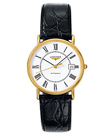 Longines Men's Swiss Automatic La Grande Classique Presence Black Strap Watch L48212112