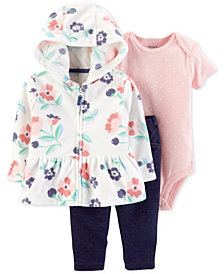Carter's Baby Girls 3-Pc. Floral-Print Hoodie, Bodysuit & Pants Set