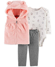 Carter's Baby Girls 3-Pc. Hooded Vest, Printed Bodysuit & Leggings Set