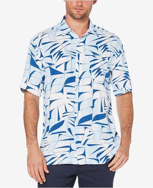 d37baa3eb1 Cubavera Men s Big   Tall Leaf Print Shirt - Casual Button-Down ...