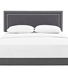 Virginia Queen Fabric Platform Bed with Squared Tapered Legs