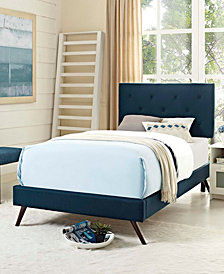 Tarah Twin Fabric Platform Bed with Round Splayed Legs