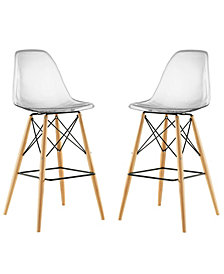 Modway Pyramid Dining Side Bar Stool Set of 2