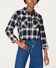 Dickies Cropped Plaid Flannel Button-Up Shirt