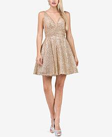 Dancing Queen Juniors' Embellished Mesh-Overlay Fit & Flare Dress