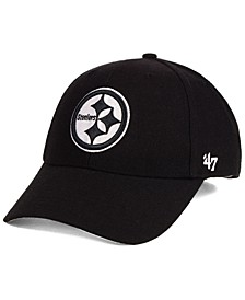Pittsburgh Steelers Black & White MVP Strapback Cap