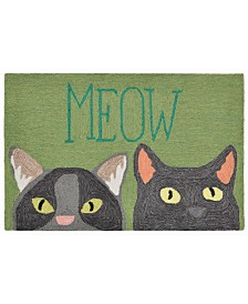 Liora Manne Front Porch Indoor/Outdoor Meow Green 2' x 3' Area Rug