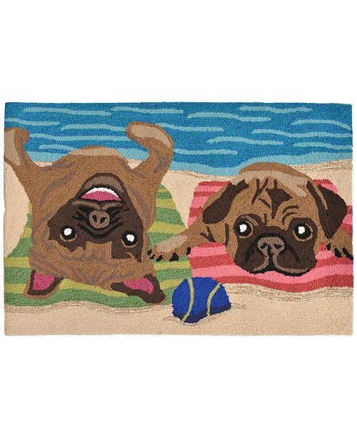 Liora Manne' Liora Manne Front Porch Indoor/Outdoor Pug Life Multi 2' x 3' Area Rug