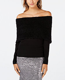 XOXO Juniors' Eyelash Off-The-Shoulder Sweater