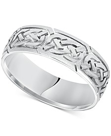 Celtic Wedding Band in 14k White Gold
